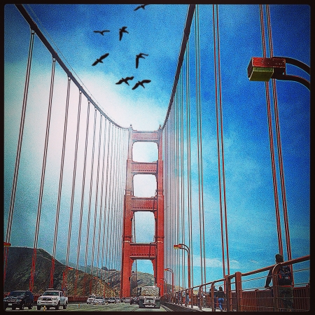 A bright day on the Golden Gate Bridge in San FranciscoCA