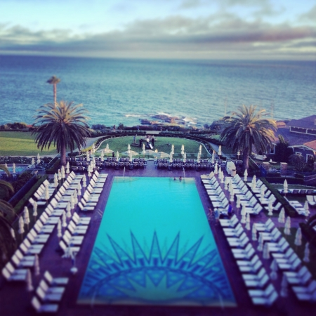 The beautiful pool at the Montage Resort on the Pacific Ocean