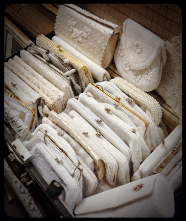 Vintage clutch purses in white