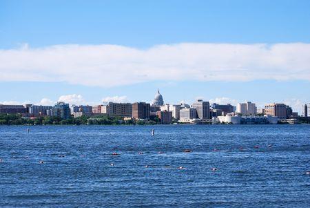 university of wisconsin: Madison Wisconsin skyline Stock Photo