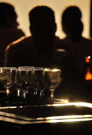 Backlit bar scene Stock Photo