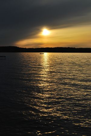 Sunset on Lake Mendota with Boat Stock Photo