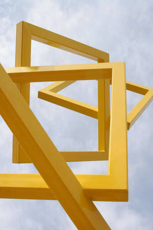 Abstract of yellow frames with sky in the background