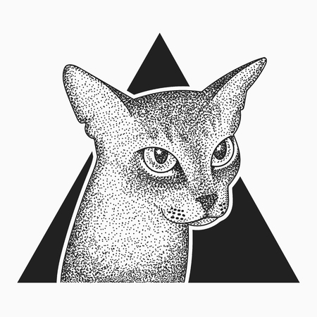 Blackwork dotwork tattoo abyssinian cat in triangle design.