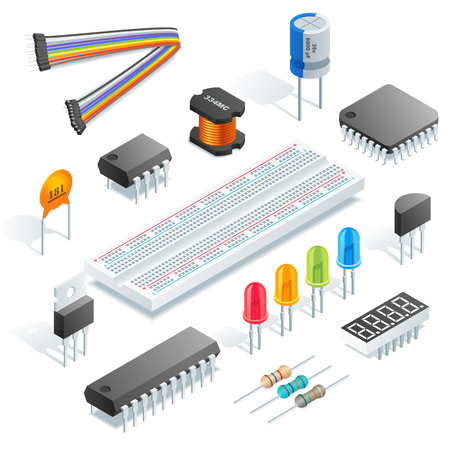 Componenti elettronici isometrici isolati su sfondo bianco illustrazione vettoriale.