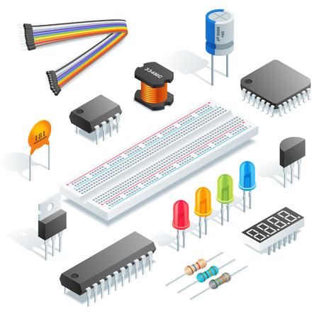 Isometrische elektronische componenten geïsoleerd op een witte achtergrond vectorillustratie.