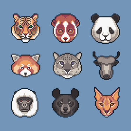 Pixel art asian wild animals vector icons set.