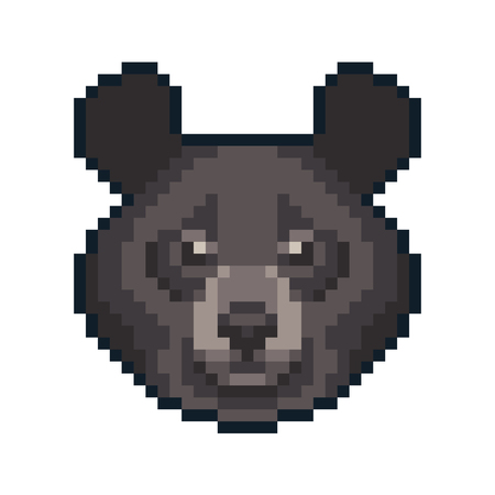 Pixel art black moon bear isolated on white background. Ilustrace