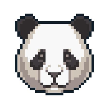 Pixel art giant panda isolated on white background.