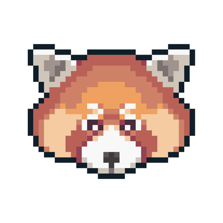 Pixel art red panda isolated on white background. Ilustrace