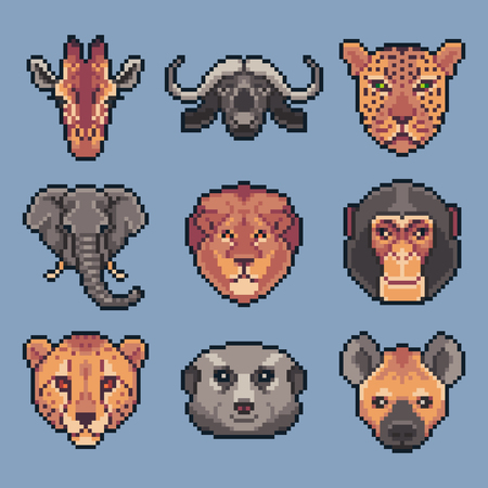 Pixel art set of vector african wild animals.