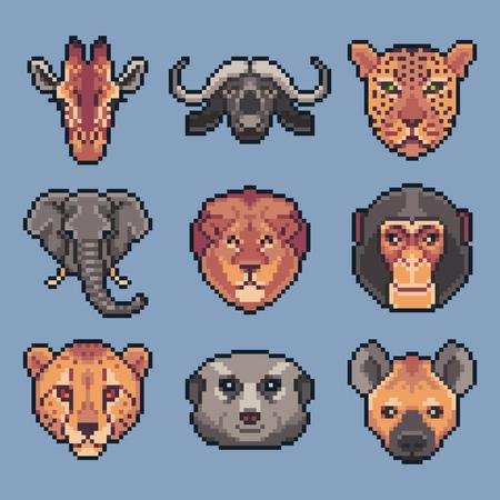 Pixel art set of vector african wild animals.