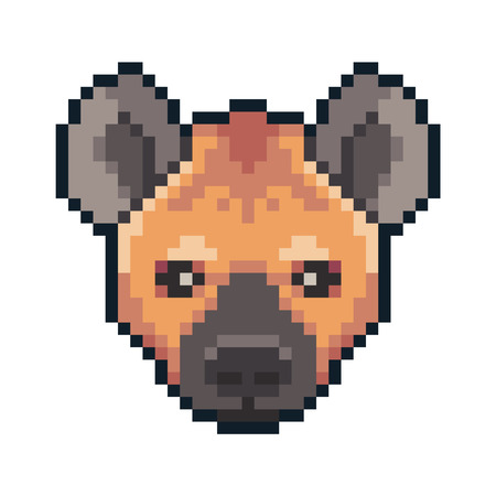 Pixel art vector hyena isolated on white background.