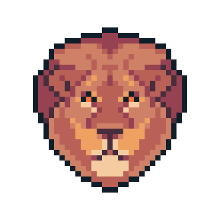 Pixel art vector lion isolated on white background.