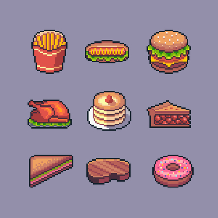 Pixel art american popular street food vector set. Ilustrace