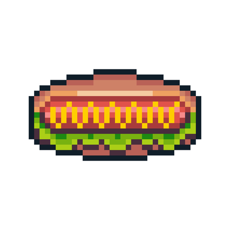 Pixel art hot dog isolated on white background. Ilustrace