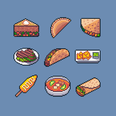 Pixel art mexican food vector icons pack.