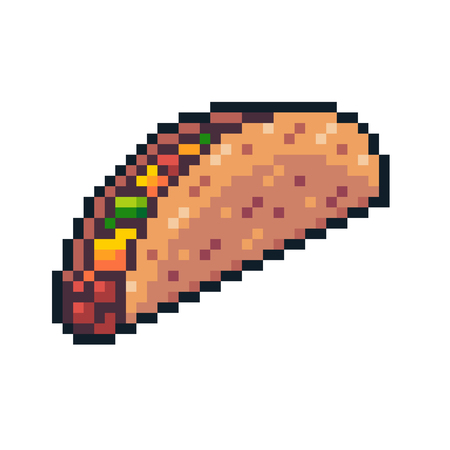 Pixel art vector taco isolated on white background. Ilustração