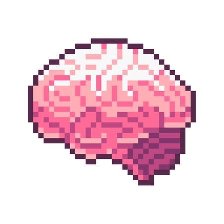 Cerebro rosado del vector del arte del pixel aislado en el fondo blanco.