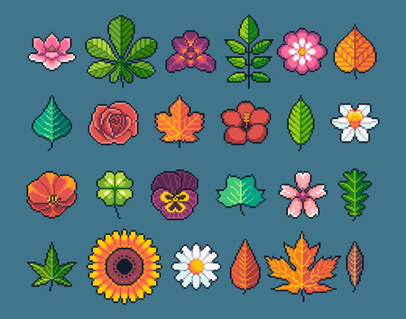 Pixel art leaves and flowers.