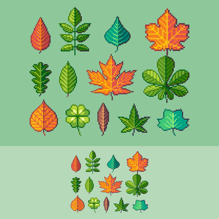 Pixel art common trees leaves vector icons set. Vektorové ilustrace