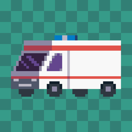 Pixel art ambulance car vehicle icon.