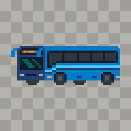 Pixel art blue bus vehicle icon. Ilustrace