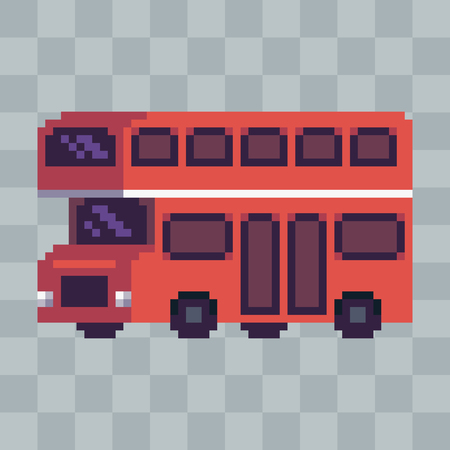 Pixel art red city bus vehicle icon.
