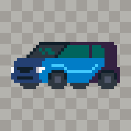 Pixel art city car vehicle icon.