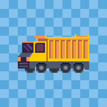Pixel art dump truck vehicle icon.