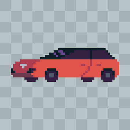 Pixel art sport car vehicle icon.