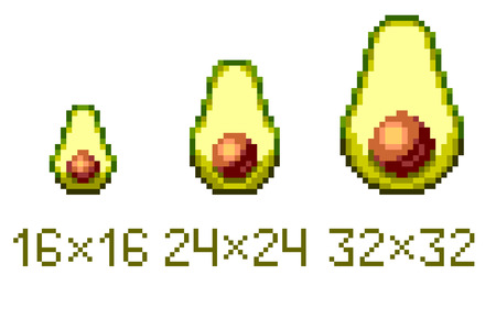 Pixel art avocado half icon in different sizes isolated on white background.