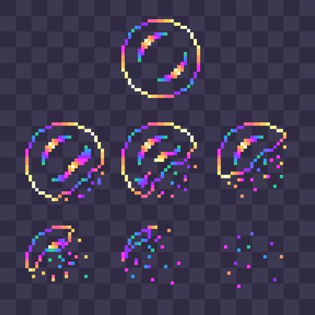 Sprites de explosión de burbujas de jabón de arco iris de pixel art para animación.