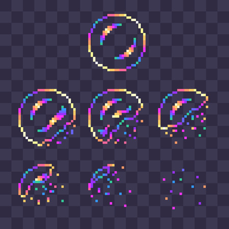 Pixel art rainbow soap bubble burst sprites for animation.