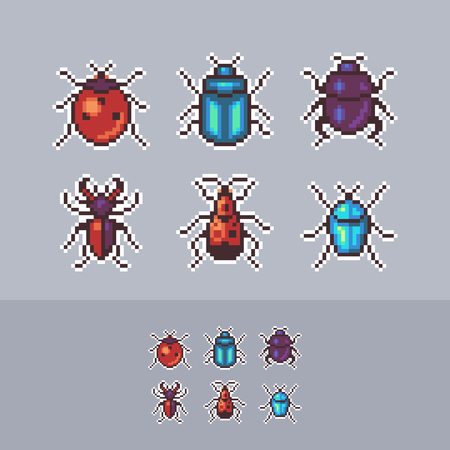 Vector pixel art bugs icon set.