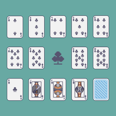 Pixel art clubs playing cards vector set. Ilustrace
