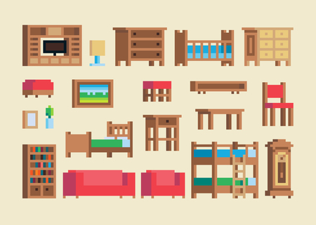 Pixel art wooden furniture and accessories vector set. Ilustrace