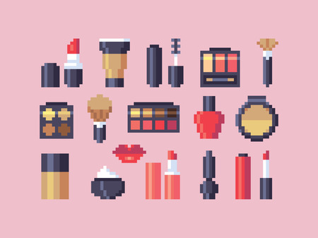 Pixel art makeup cosmetics vector icons set. Ilustrace
