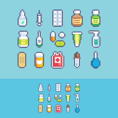 Pixel art medication healthcare vector icons set.