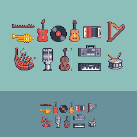 Pixel art retro style music instruments vector set.