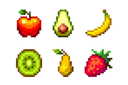 Pixel art vector fruits set 16x16 isolated on white background. Ilustrace