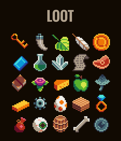 Pixel art loot set for video games . Retro style 8 bit icons. Çizim