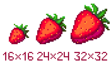 Pixel art strawberry icon in different size isolated on white background Ilustrace