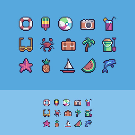 Pixel art summer vacation vector icons set. Ilustrace