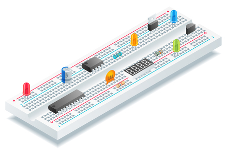 Isometric breadboard with  electronic components vector illustration. Vectores