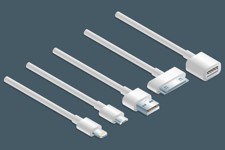 Isometric illustration of different white connectors cables