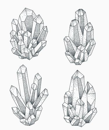 Crystal clusters vector illustration. Blackwork dotwork tattoo design.