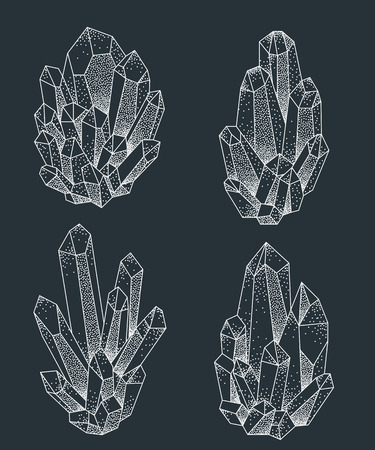 Crystal clusters white on black vector illustration. Whitework dotwork tattoo design. Ilustrace