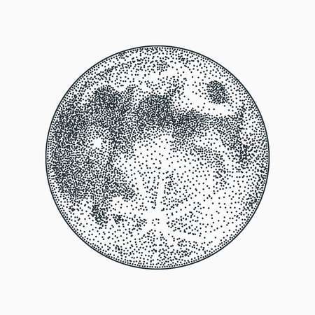 Moon vector illustration on white background. Blackwork dotwork tattoo design. Ilustrace