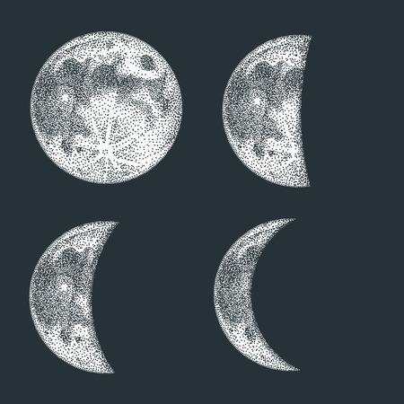 Moon phases vector illustration. Blackwork dotwork tattoo design.